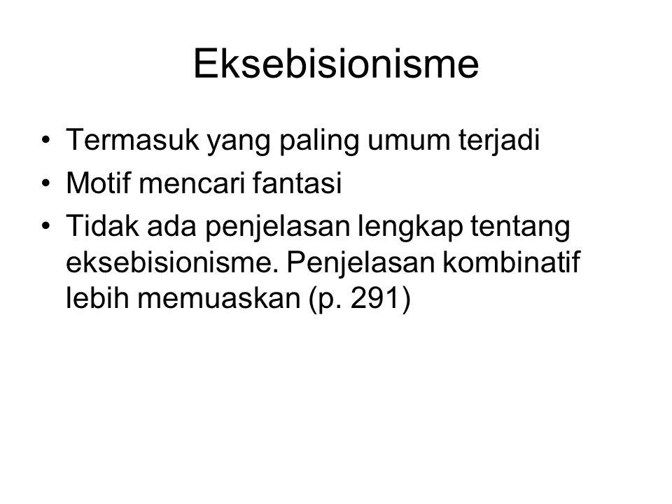 Eksebisionisme Termasuk yang paling umum terjadi Motif mencari fantasi