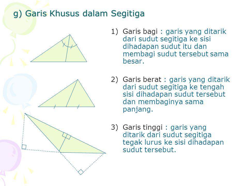 g) Garis Khusus dalam Segitiga