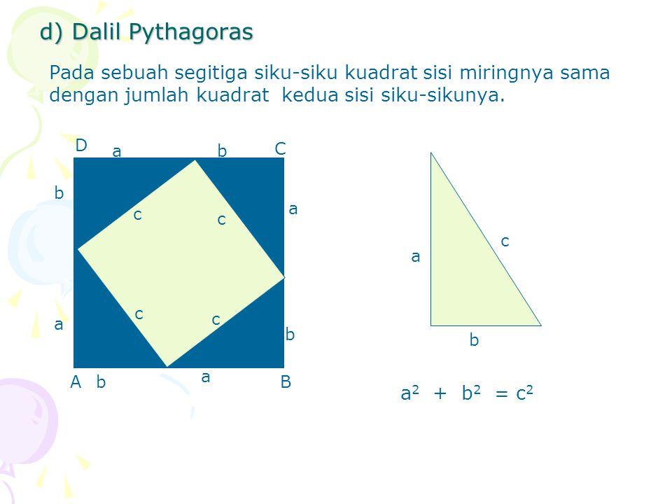 d) Dalil Pythagoras Pada sebuah segitiga siku-siku kuadrat sisi miringnya sama dengan jumlah kuadrat kedua sisi siku-sikunya.
