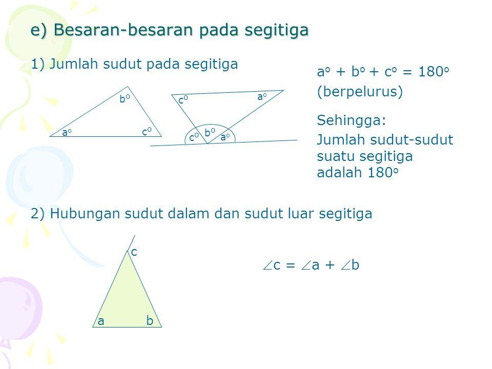 e) Besaran-besaran pada segitiga