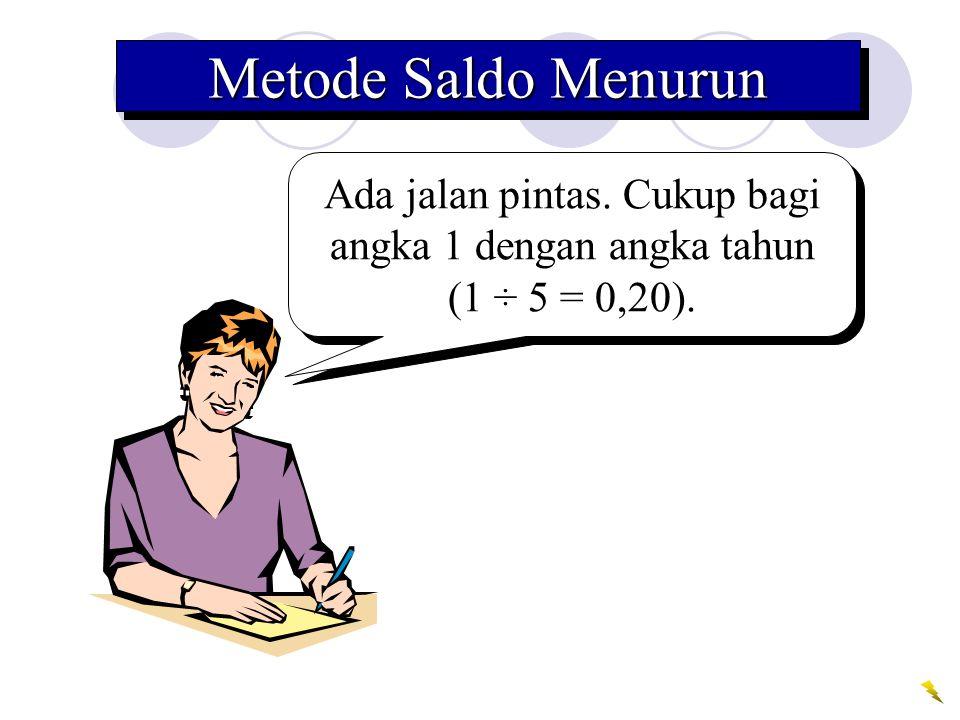 Metode Saldo Menurun Ada jalan pintas. Cukup bagi angka 1 dengan angka tahun (1 ÷ 5 = 0,20).