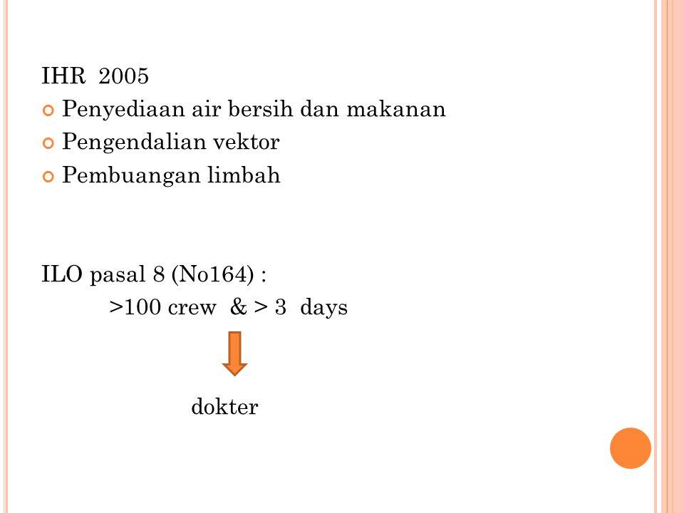 IHR 2005 Penyediaan air bersih dan makanan. Pengendalian vektor. Pembuangan limbah. ILO pasal 8 (No164) :