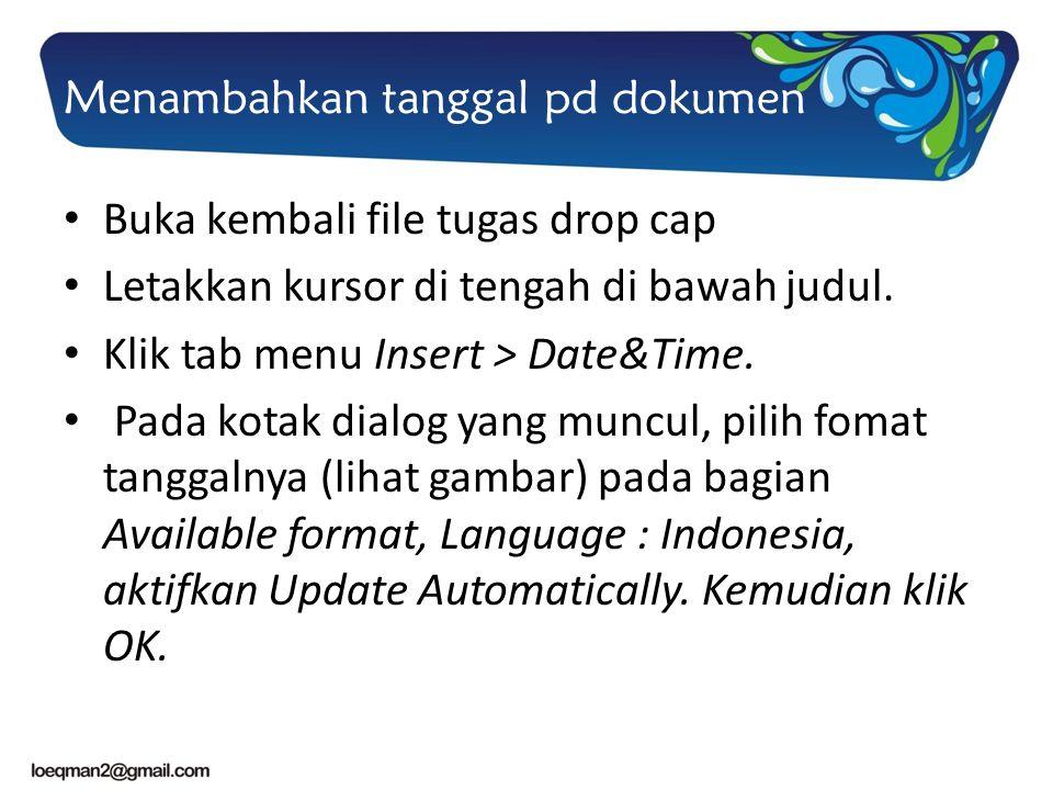 Menambahkan tanggal pd dokumen