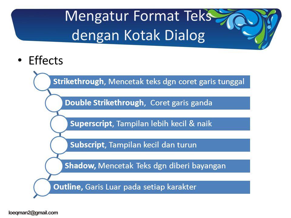 Mengatur Format Teks dengan Kotak Dialog