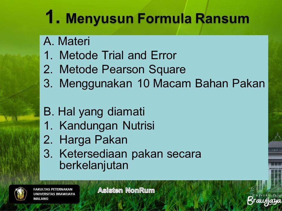 1. Menyusun Formula Ransum