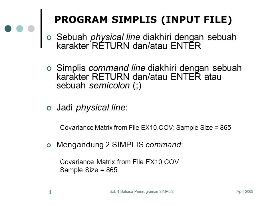 PROGRAM SIMPLIS (INPUT FILE)