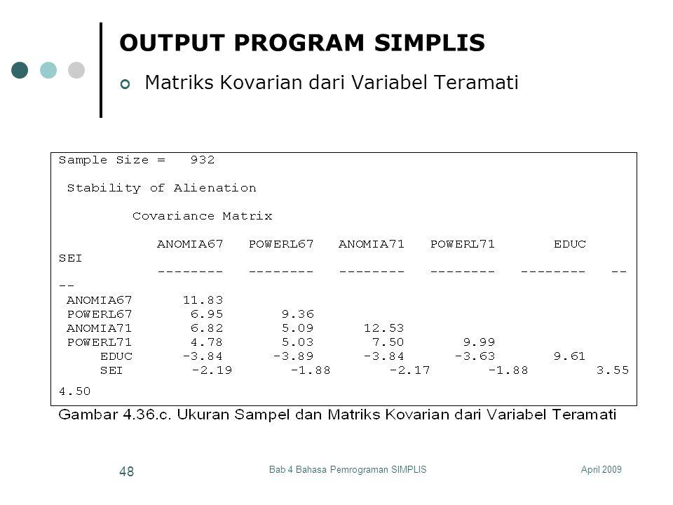OUTPUT PROGRAM SIMPLIS