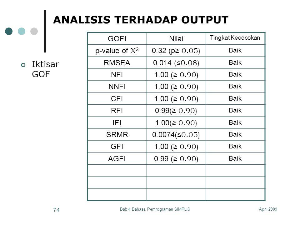 ANALISIS TERHADAP OUTPUT