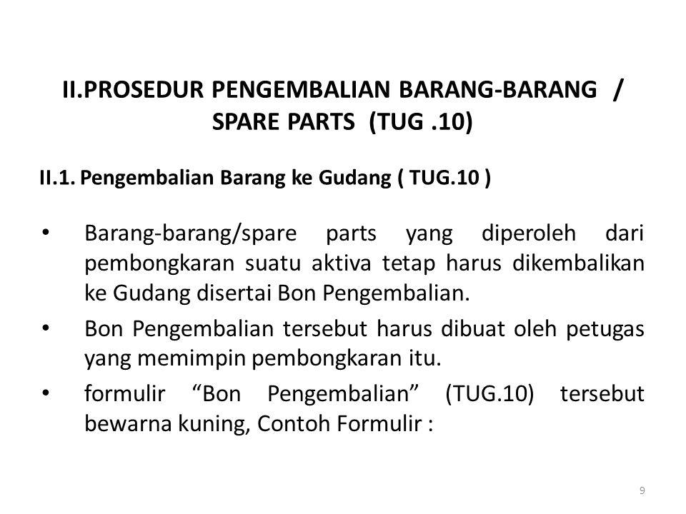 II.PROSEDUR PENGEMBALIAN BARANG-BARANG / SPARE PARTS (TUG .10)