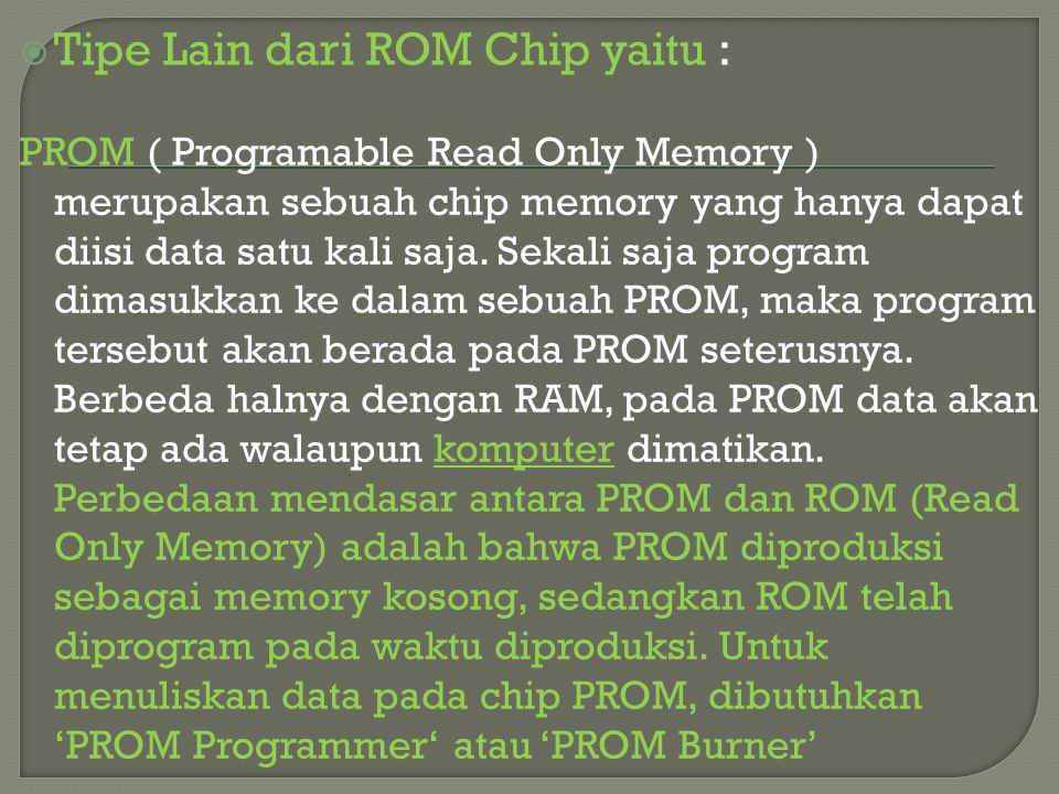 Tipe Lain dari ROM Chip yaitu :