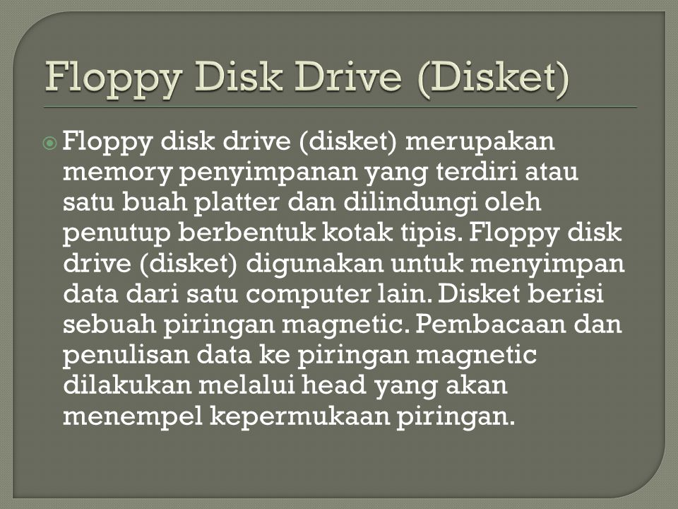 Floppy Disk Drive (Disket)