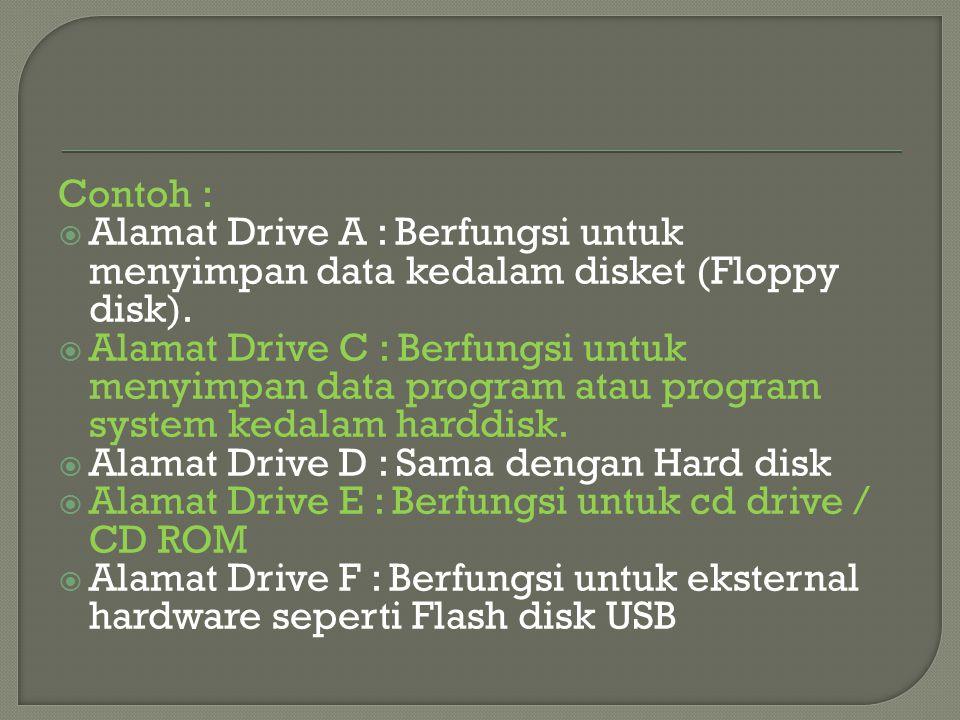 Contoh : Alamat Drive A : Berfungsi untuk menyimpan data kedalam disket (Floppy. disk).