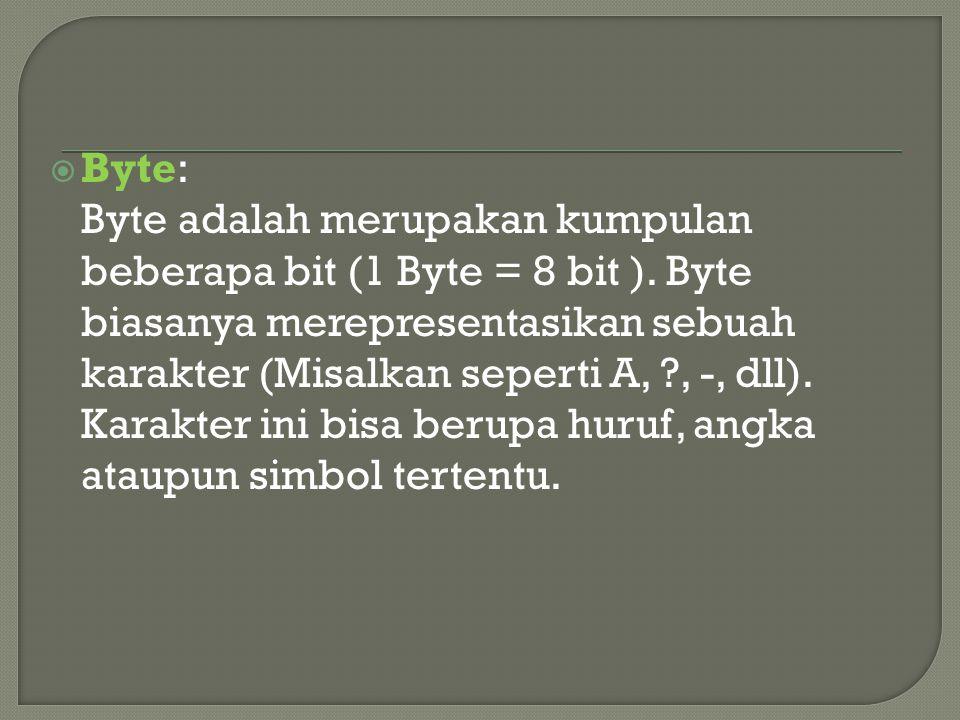 Byte: Byte adalah merupakan kumpulan beberapa bit (1 Byte = 8 bit )