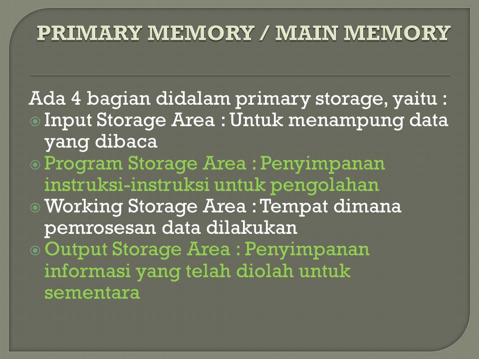 PRIMARY MEMORY / MAIN MEMORY