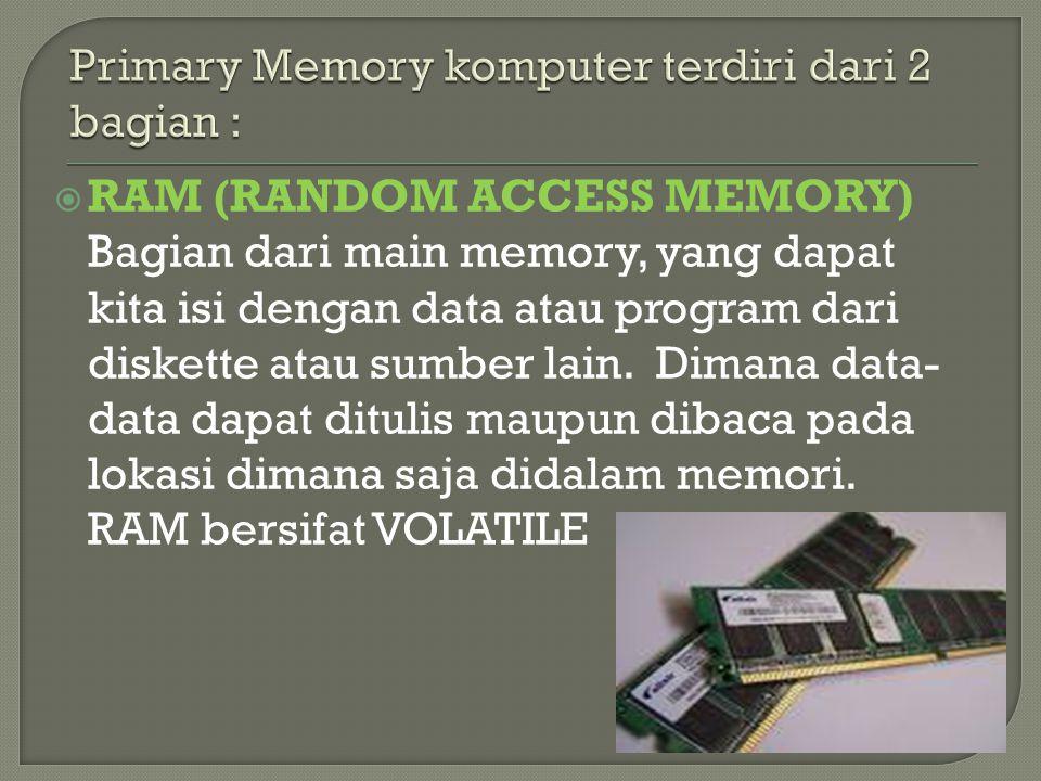 Primary Memory komputer terdiri dari 2 bagian :