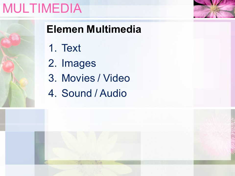 MULTIMEDIA Elemen Multimedia Text Images Movies / Video Sound / Audio