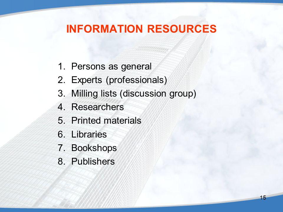 INFORMATION RESOURCES