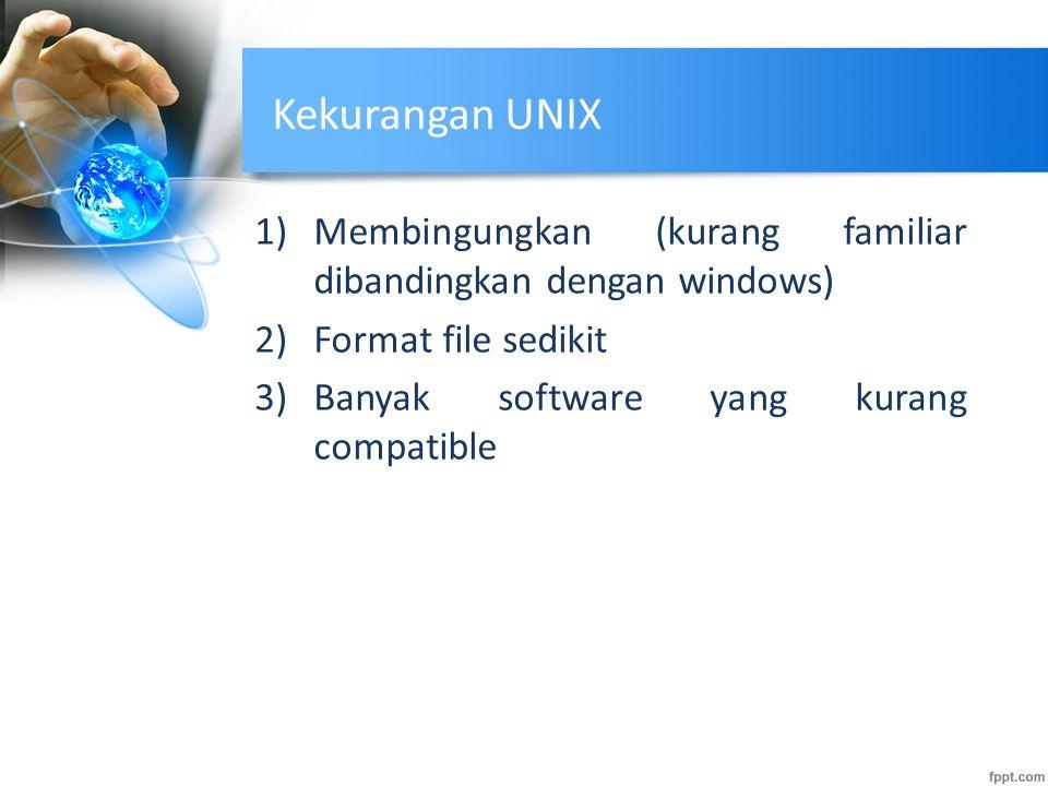 Kekurangan UNIX Membingungkan (kurang familiar dibandingkan dengan windows) Format file sedikit.
