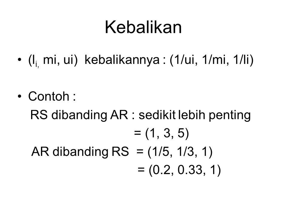 Kebalikan (li, mi, ui) kebalikannya : (1/ui, 1/mi, 1/li) Contoh :