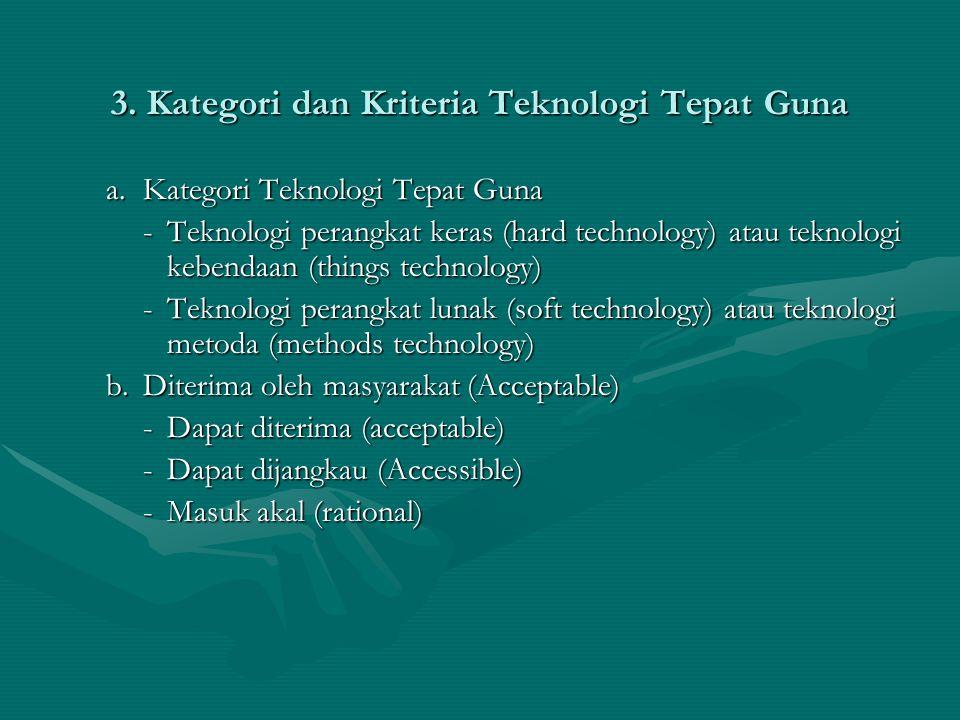 3. Kategori dan Kriteria Teknologi Tepat Guna