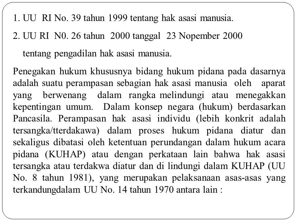 1. UU RI No. 39 tahun 1999 tentang hak asasi manusia.