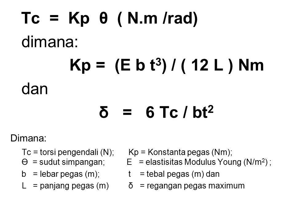 dimana: Kp = (E b t3) / ( 12 L ) Nm dan δ = 6 Tc / bt2