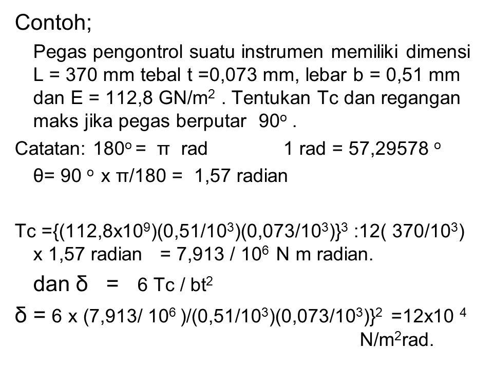 δ = 6 x (7,913/ 106 )/(0,51/103)(0,073/103)}2 =12x10 4 N/m2rad.