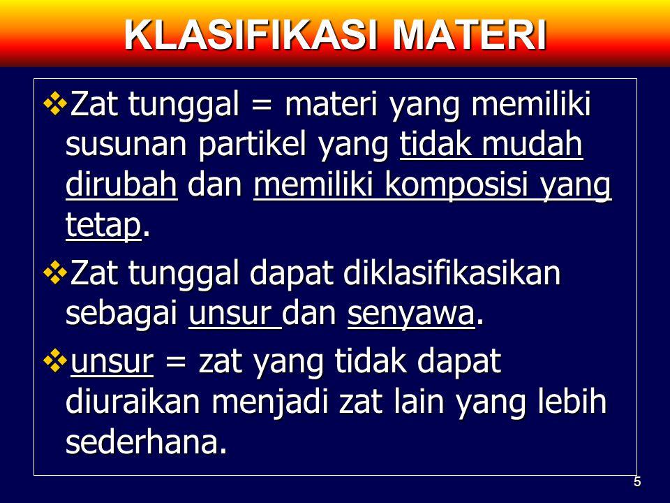 KLASIFIKASI MATERI Zat tunggal = materi yang memiliki susunan partikel yang tidak mudah dirubah dan memiliki komposisi yang tetap.
