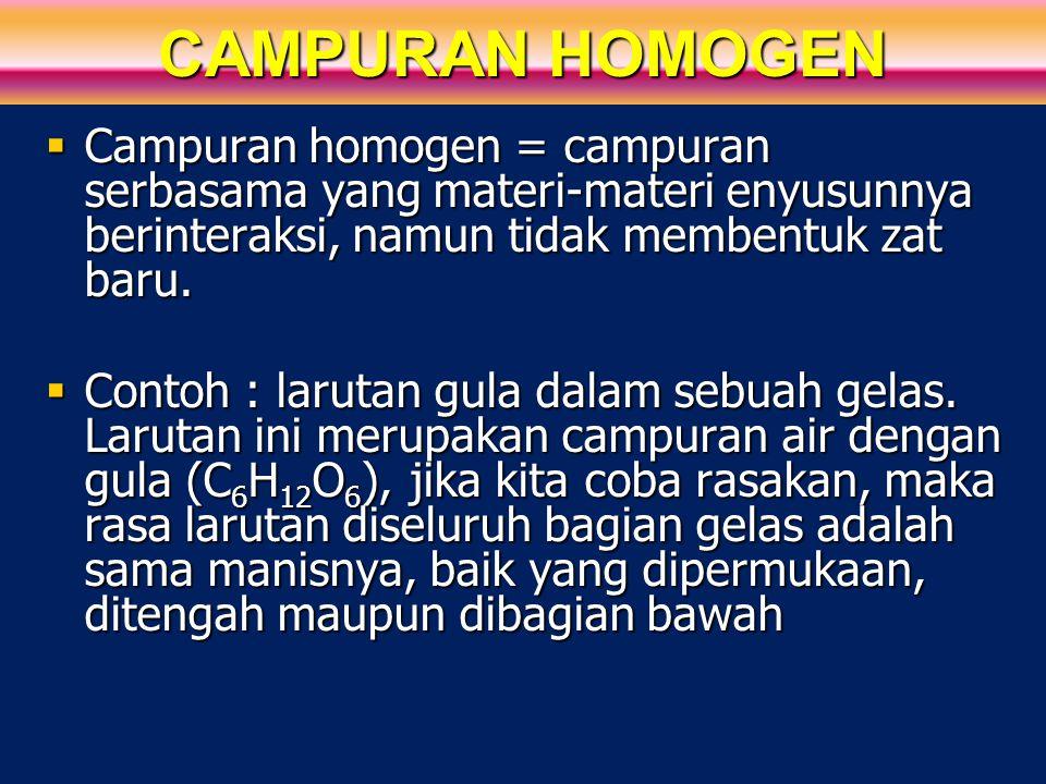 CAMPURAN HOMOGEN Campuran homogen = campuran serbasama yang materi-materi enyusunnya berinteraksi, namun tidak membentuk zat baru.