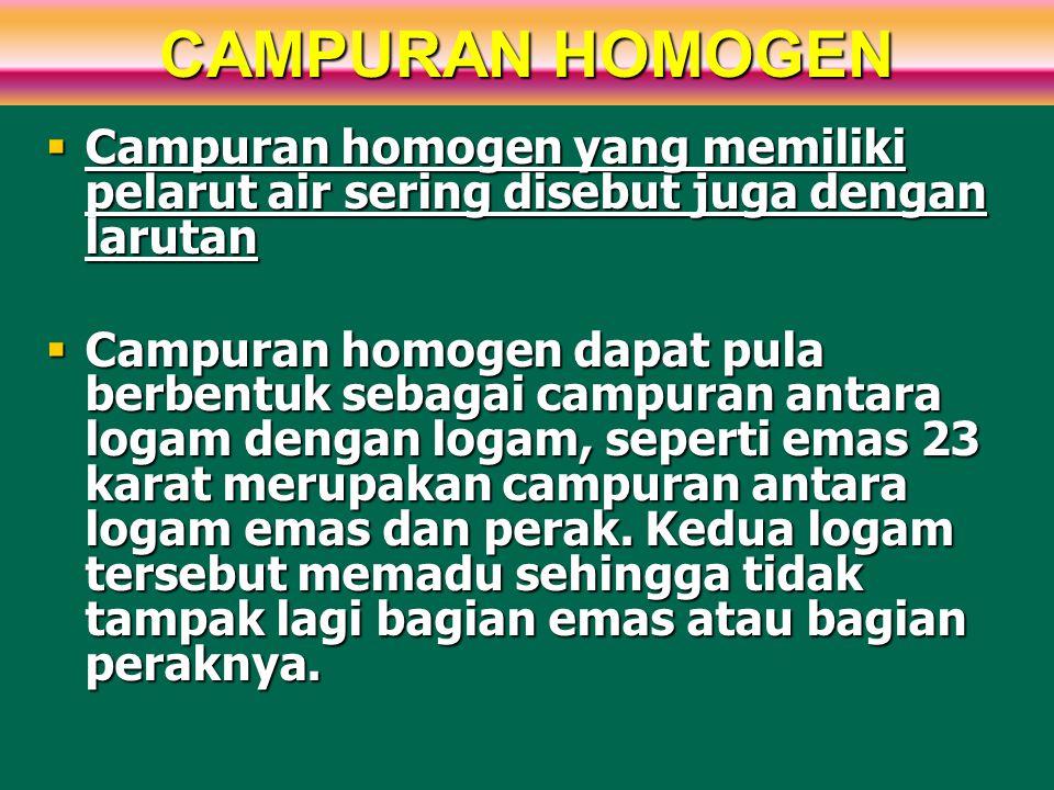 CAMPURAN HOMOGEN Campuran homogen yang memiliki pelarut air sering disebut juga dengan larutan.