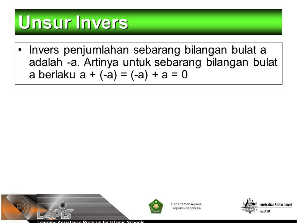 Unsur Invers Invers penjumlahan sebarang bilangan bulat a adalah -a. Artinya untuk sebarang bilangan bulat a berlaku a + (-a) = (-a) + a = 0.