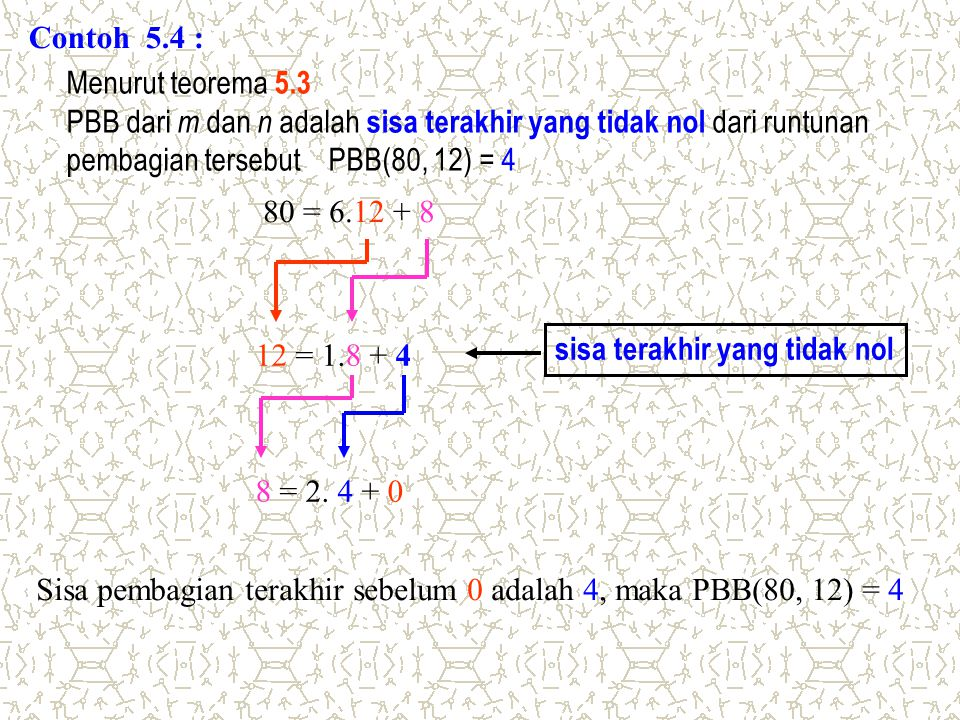 Contoh 5.4 : Menurut teorema 5.3. PBB dari m dan n adalah sisa terakhir yang tidak nol dari runtunan.