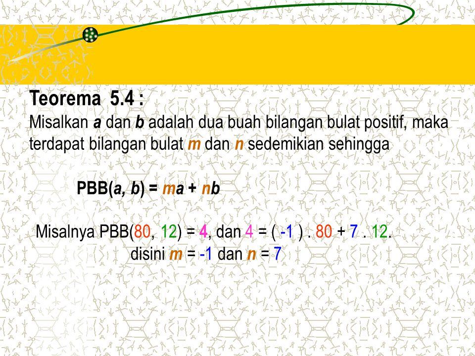 Teorema 5.4 : Misalkan a dan b adalah dua buah bilangan bulat positif, maka. terdapat bilangan bulat m dan n sedemikian sehingga.