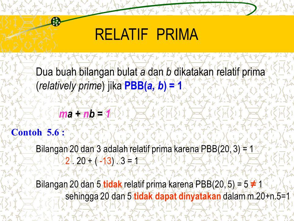 RELATIF PRIMA Dua buah bilangan bulat a dan b dikatakan relatif prima