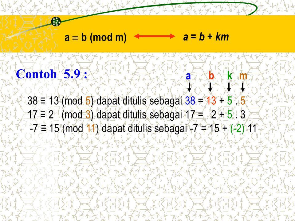 Contoh 5.9 : a  b (mod m) a = b + km a b k m