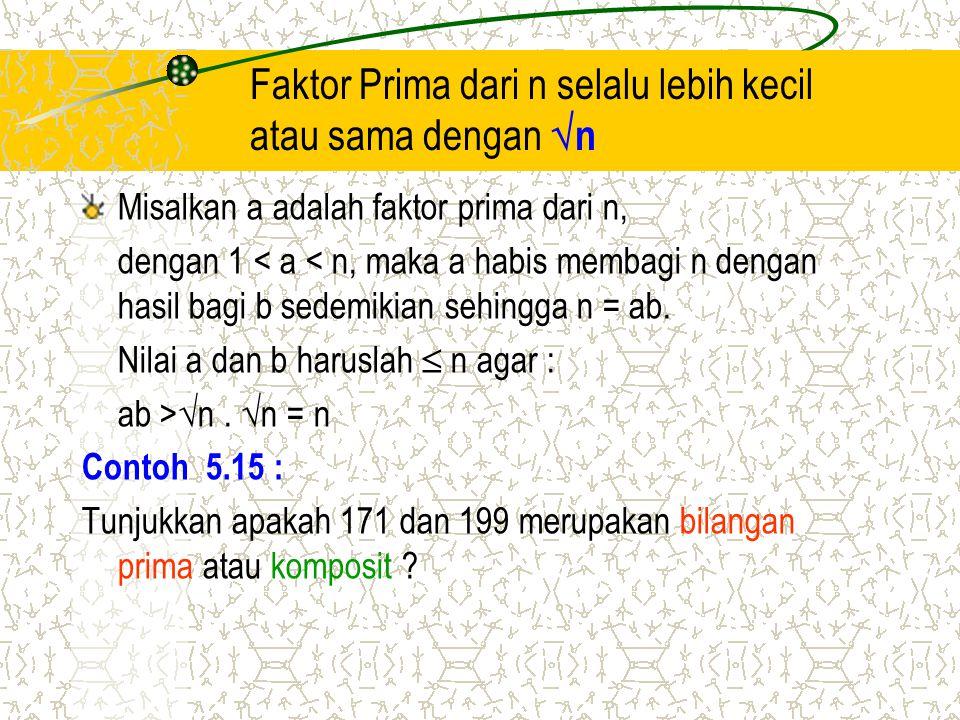 Faktor Prima dari n selalu lebih kecil atau sama dengan n
