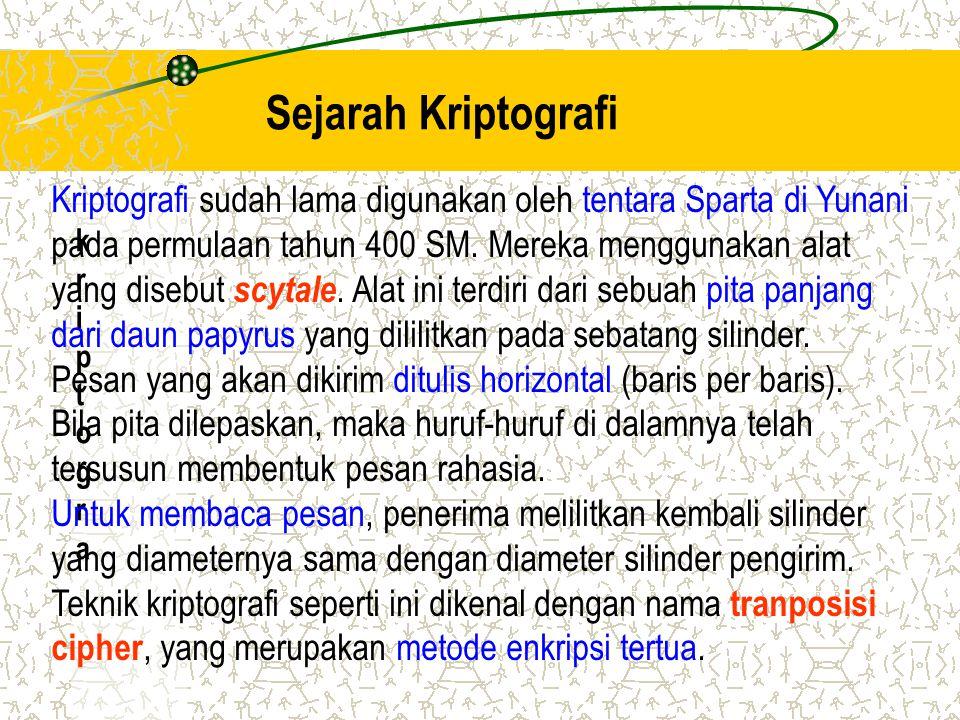 Sejarah Kriptografi Kriptografi sudah lama digunakan oleh tentara Sparta di Yunani.
