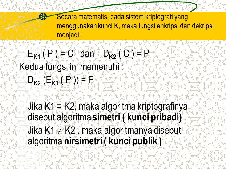 Kedua fungsi ini memenuhi : DK2 (EK1 ( P )) = P