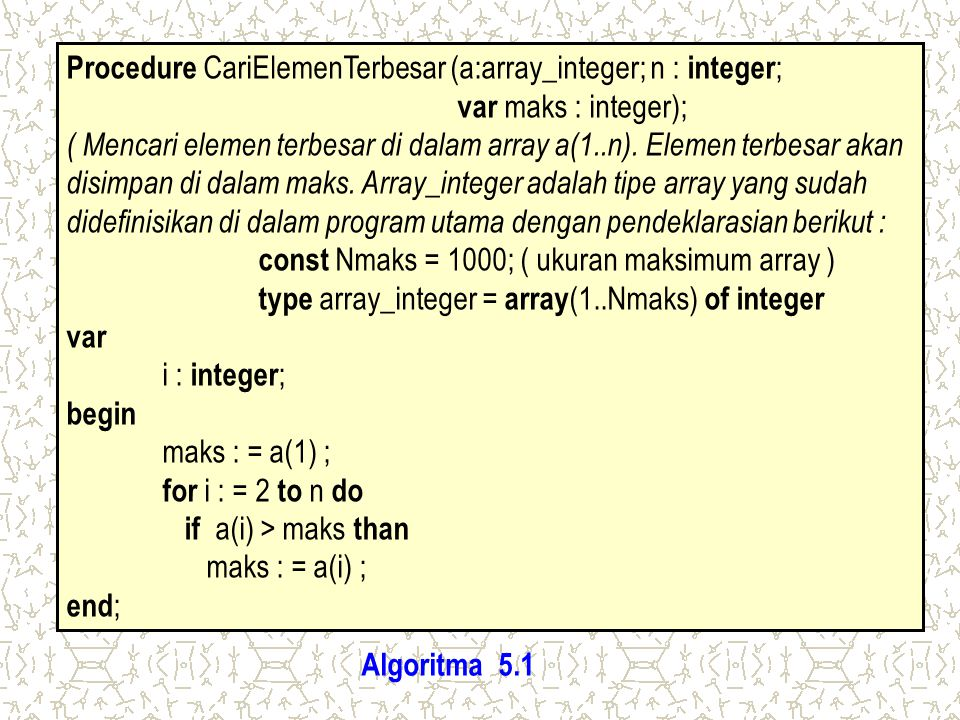 Procedure CariElemenTerbesar (a:array_integer; n : integer;
