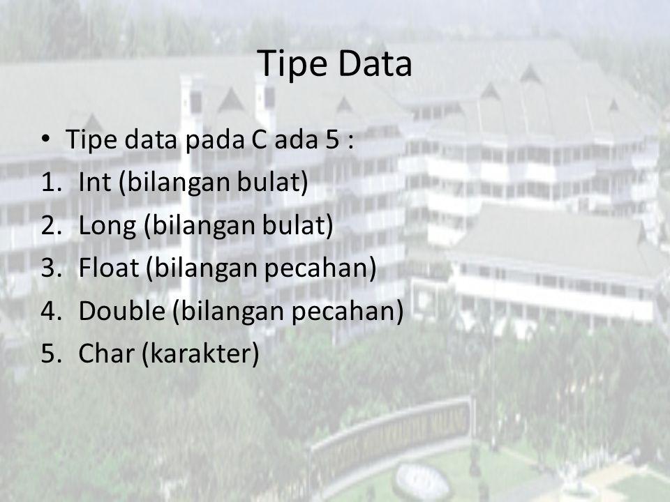 Tipe Data Tipe data pada C ada 5 : Int (bilangan bulat)