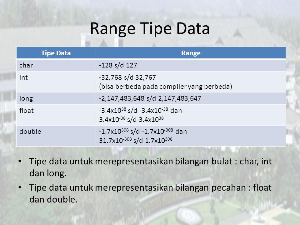 Range Tipe Data Tipe Data. Range. char. -128 s/d 127. int. -32,768 s/d 32,767. (bisa berbeda pada compiler yang berbeda)
