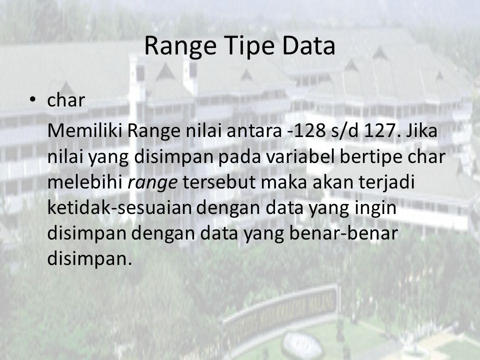 Range Tipe Data char.