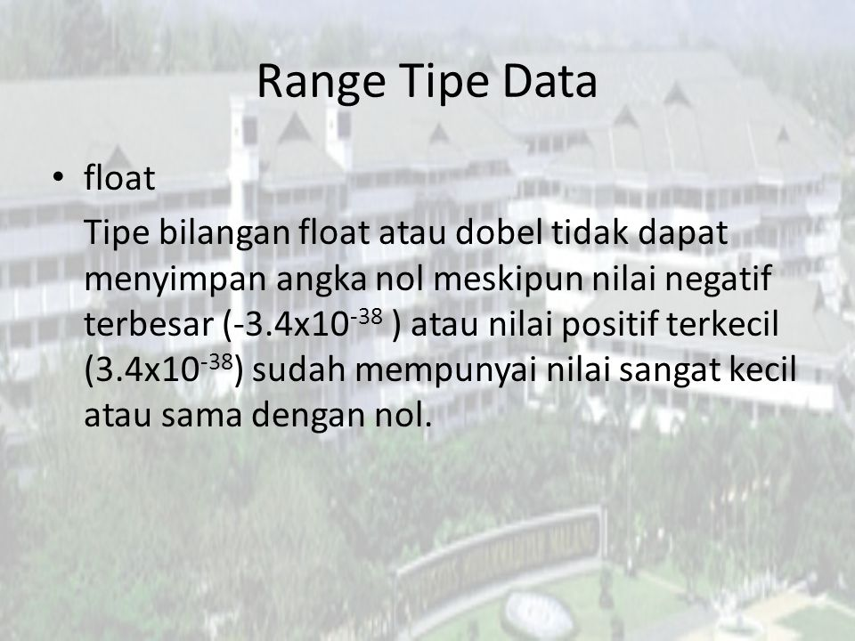 Range Tipe Data float.