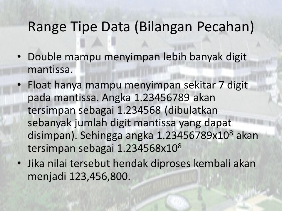 Range Tipe Data (Bilangan Pecahan)