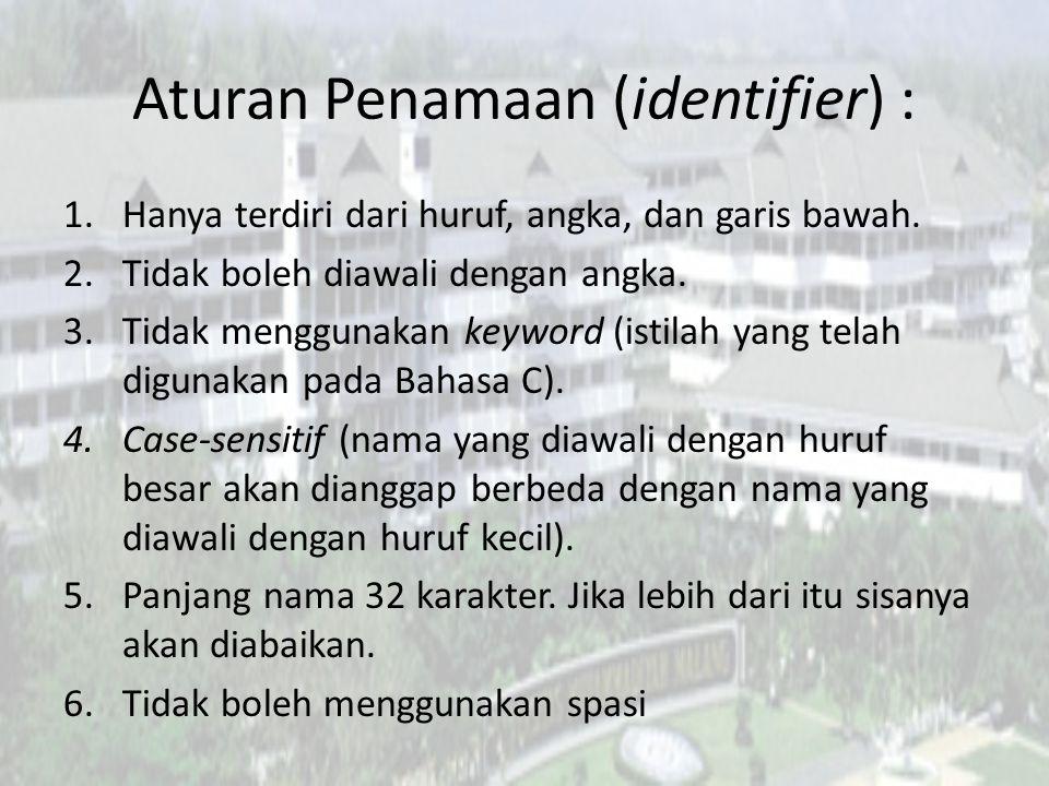 Aturan Penamaan (identifier) :