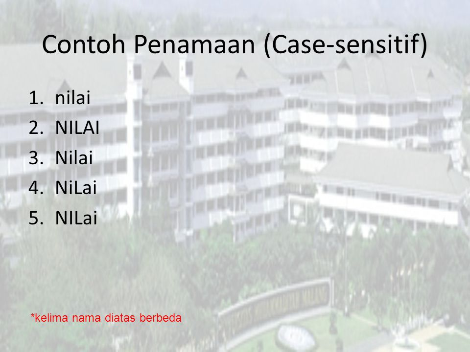 Contoh Penamaan (Case-sensitif)