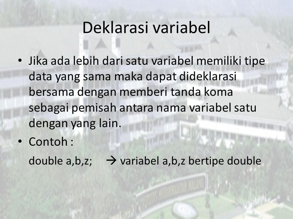 Deklarasi variabel