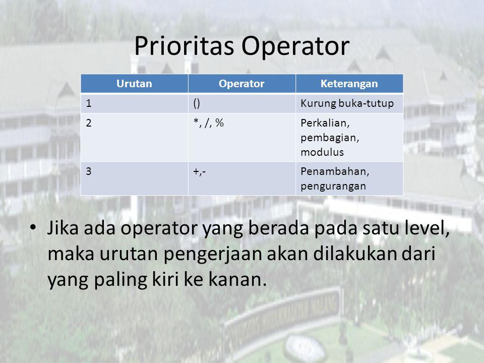 Prioritas Operator Urutan. Operator. Keterangan. 1. () Kurung buka-tutup. 2. *, /, % Perkalian, pembagian, modulus.