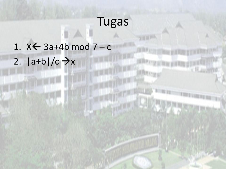 Tugas X 3a+4b mod 7 – c |a+b|/c x