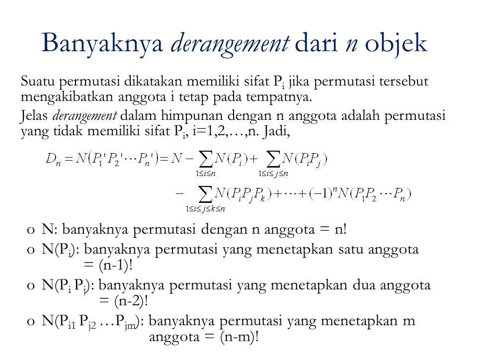 Banyaknya derangement dari n objek